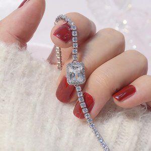 NEW 14K White Gold Plated Diamond Halo Bracelet